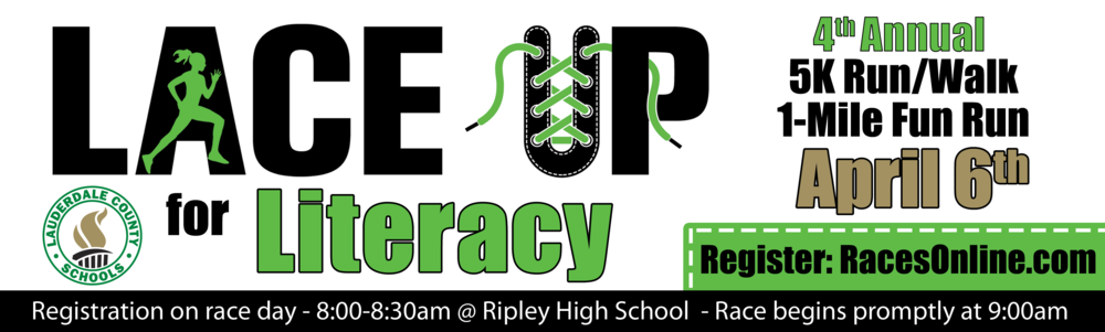 Lace Up for Literacy 5K Walk/Run - Saturday, April 6, 2019