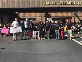 5,387.12 Donated from the students, staff and parents of Halls Elementary!!!!!