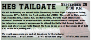 HES Tiger Tailgate is FRIDAY, September 28th at 5:30!