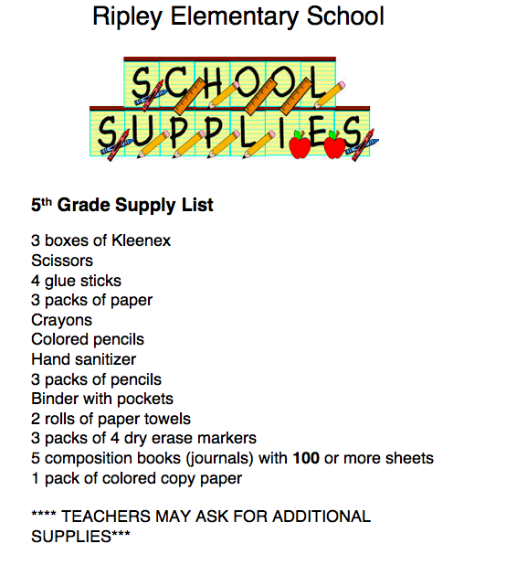 5th grade supply list 18-19