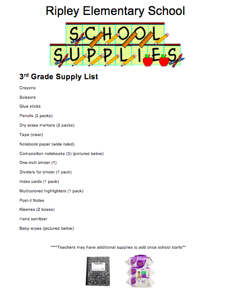 3rd grade supply list 18-19