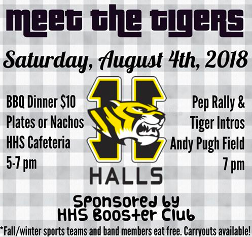Come out to HHS's annual Meet the Tigers night Saturday, August 4, 2018! Dinner starts at 5:00 with pep rally at 7:00.