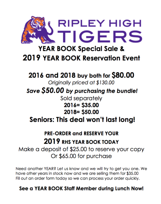 Yearbook Special Sale and Reservation of the 2019 Yearbook! Bundle deal 2016 & 2018 Yearbook for $80 (originally $130!)