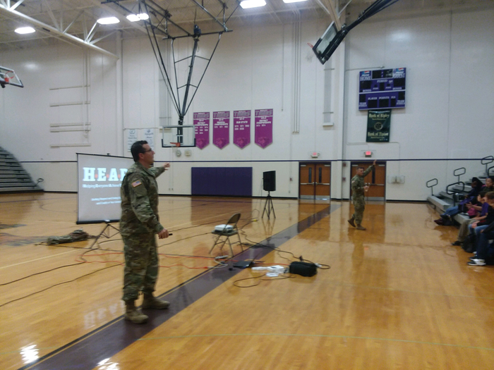 National Guard presenting the HEAR program to 9th Grade students.