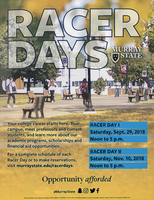 Racer Days at Murray State University. Students can tour campus and learn about available program.