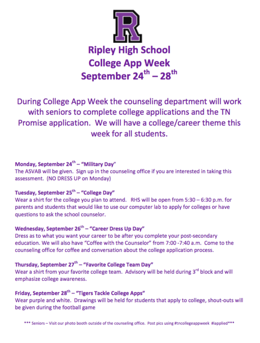College App Week Dress up and activity days.