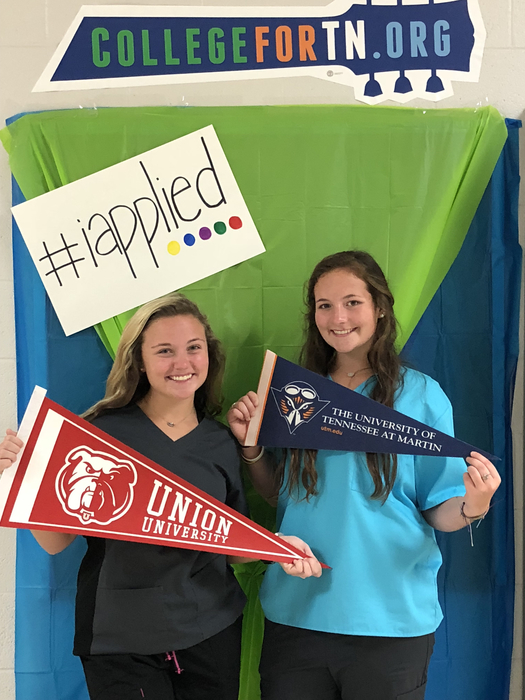 Students that have applied for college this week in the photo booth.