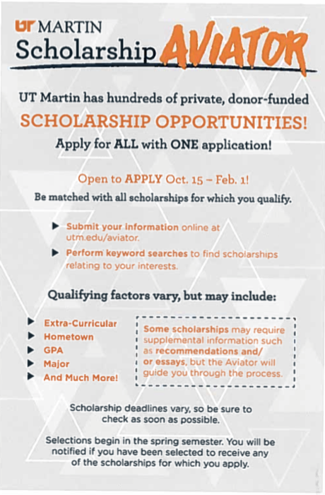 All scholarships provided through UT Martin use the same application. Apply Oct. 15- Feb. 1
