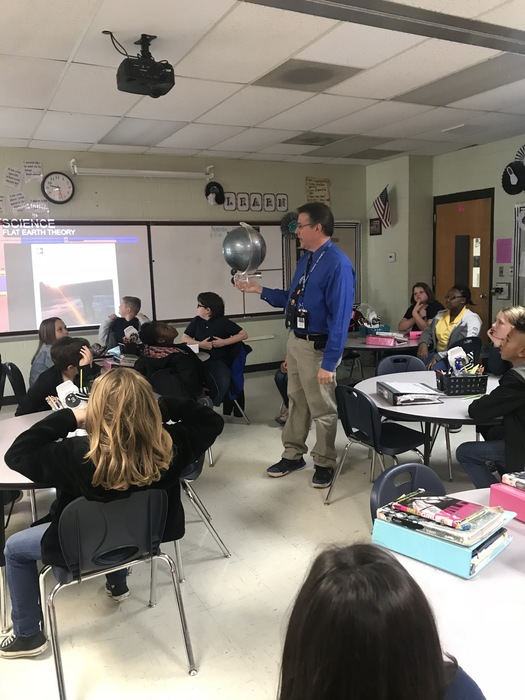 Austin Onek stopped by to teach the fifth-graders about the solar system and meteorology.