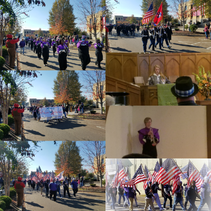 Students and Advisors from SCA, Band, JROTC, Football, Miss Ripley, and RHS Student Bethanie participated in the Veteran's Day Parade.
