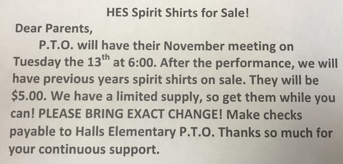 Pto meeting/shirts for sale.