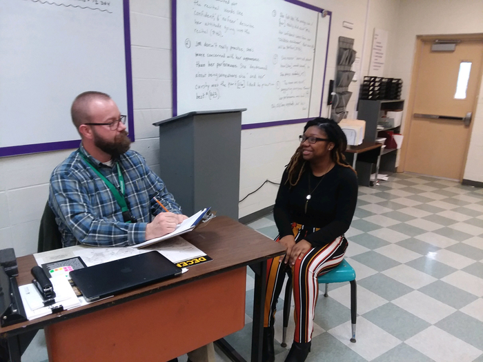 As part of our advisory curriculum, teachers and students held mock job interviews in advisory today. Student were asked to dress professionally for the interviews.