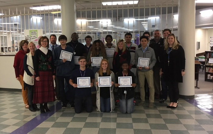 The Fort Prudhomme Chapter, NSDAR, honored the nominees for Daughters of the American Revolution's Good Citizen Award.  Students from Halls High School and Ripley High School were treated to lunch and were presented certificates in recognition of their qualities of Dependability, Leadership, Service, and Patriotism.  Pictured with DAR members Janice Craig-Koone, Regent, and Libba Burns, Superintendent Shawn Kimble, Ripley High School principal Stephen Byrd and counselor, Kim Kelley, and Halls High School principal Suzanne Keefe and counselor Shelley Smith are:  from Halls High School, Jacob, Hayden, and Jaylan; and from Ripley HIgh School, Jamesha, Seth, Lily Kate, Devrajsinh, Sam, Jalen, Austin, Brian, and Elysia.