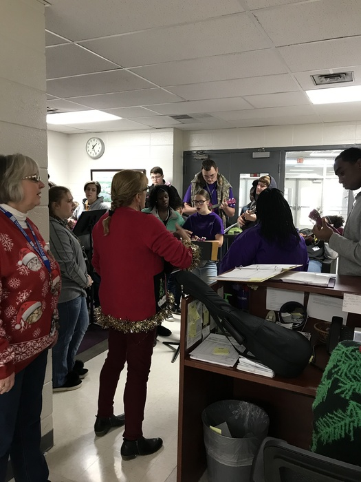 General Music students performed Christmas Carols for the BOE and RHS office staff