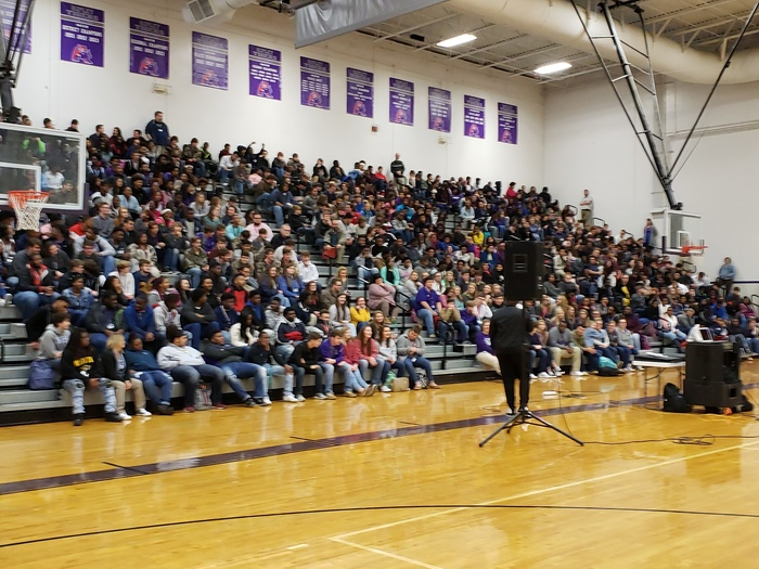 Mychal Hunt talking to RHS students about being a better you.