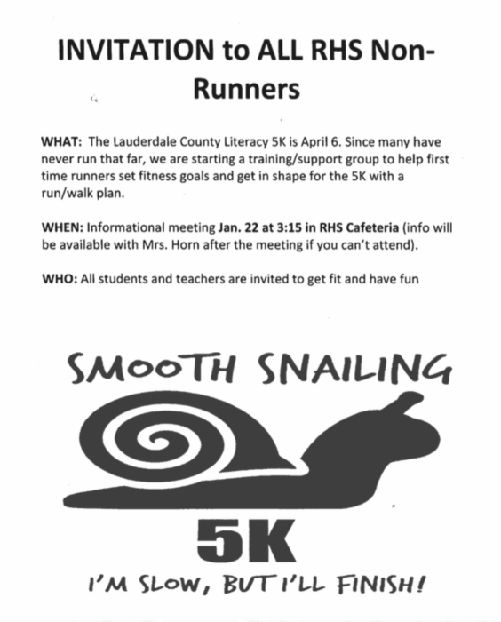 Non-Runners at RHS are invited to join us for an informational meeting Jan 22nd