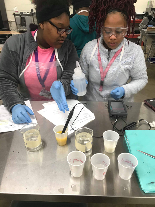 Students were learning about Acids and bases by testing different substances with LabQuest Ph sensors.
