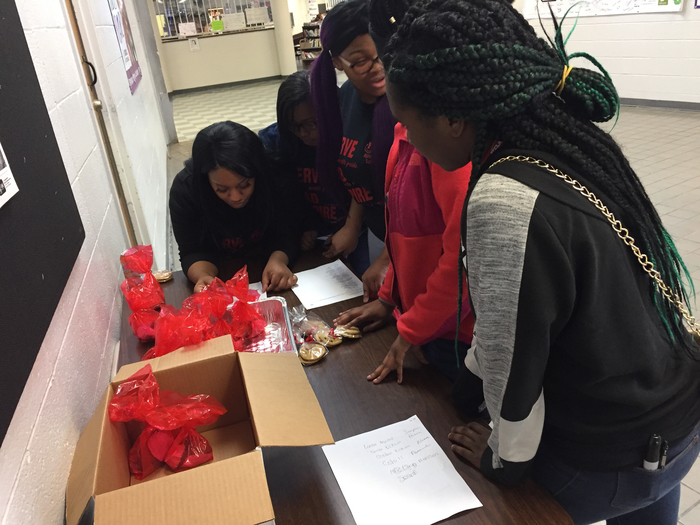 FCCLA students and Advisor Ms Reed worked hard during advisory to deliver Valentine's goodies.
