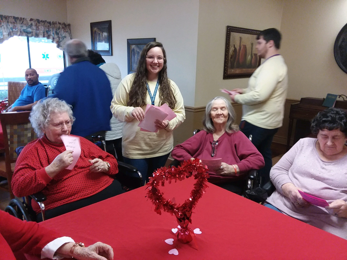 RHS students from Mrs. Robison and Mrs. Ferrell's Advisory class delivered gifts and cards to the nursing home today.