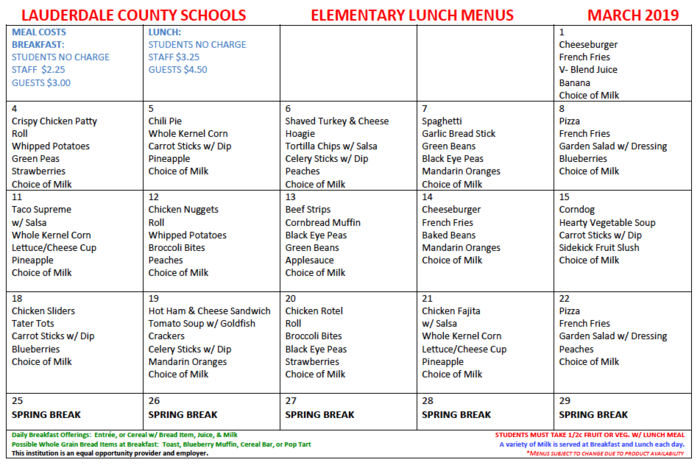 2019 March Lunch Menu
