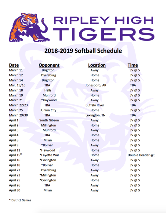 RHS Tiger Softball Schedule