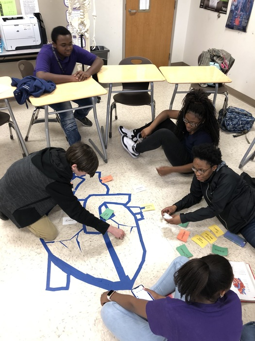 Students in Health Science constructed hearts on the floor to demonstrate blood flow through the heart while studying the Circulatory System.