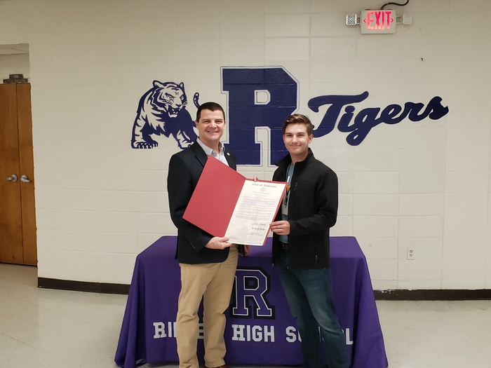 Sam, RHS Senior, received the Governor's Volunteer Star Award in recognition of commitment to his community and volunteerism. Sam has been involved in numerous organizations and events, including Bags of Hope, Lauderdale Co Tomato Festival, and AWARE.