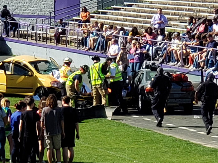Ripley Fire And Police Departments assist in the mock crash.