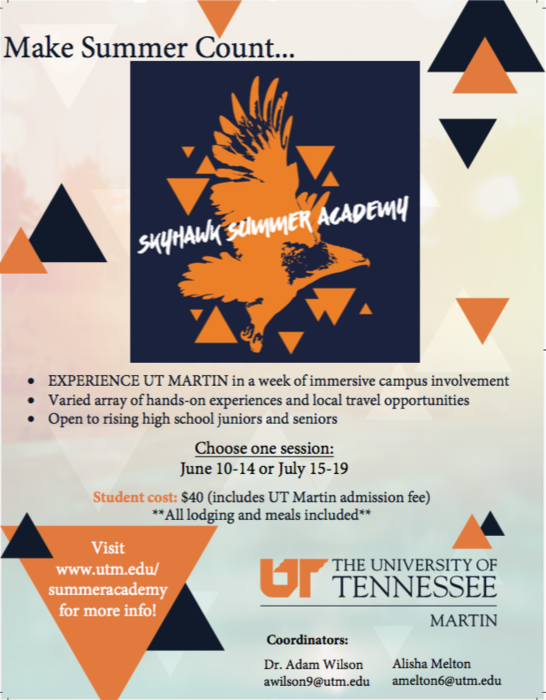 UTMartin is offering Skyhawk Summer Academy, this is an opportunity for students to experience UTM in a week of immersive campus involvement.