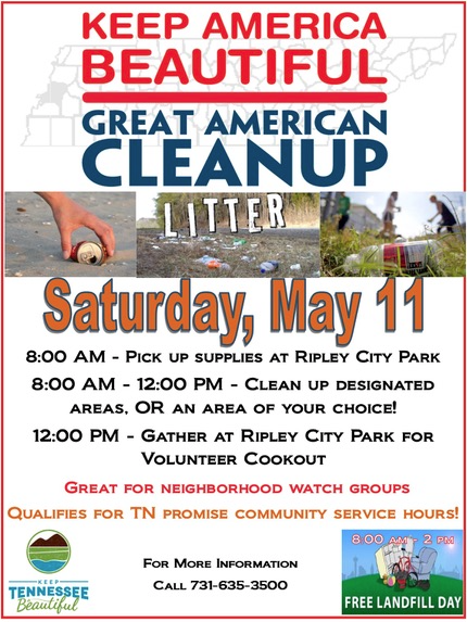Great American Cleanup will be held Saturday May 11 fro 8-12. There will be a cookout at the Ripley Park at noon.