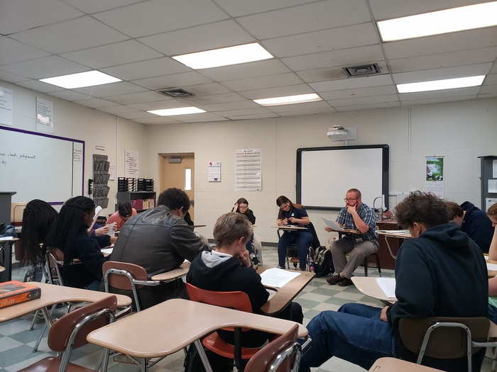 Mr Meyer's English class studying literature.