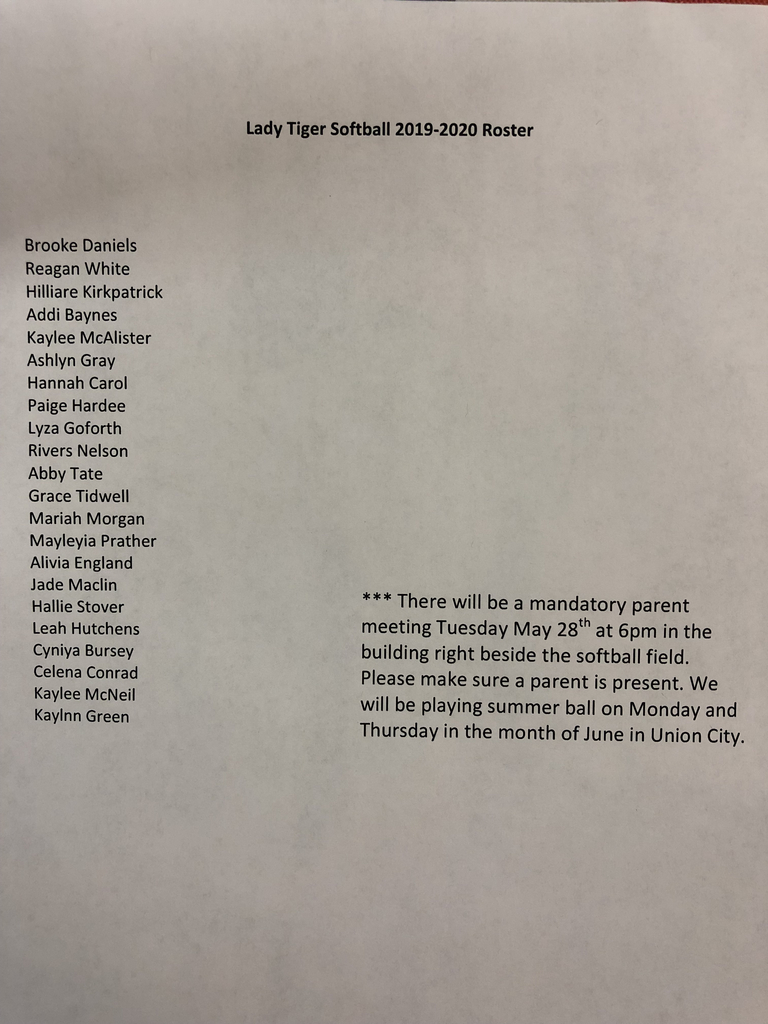 Congratulations to the 2019-2020 Lady Tigers Softball team!