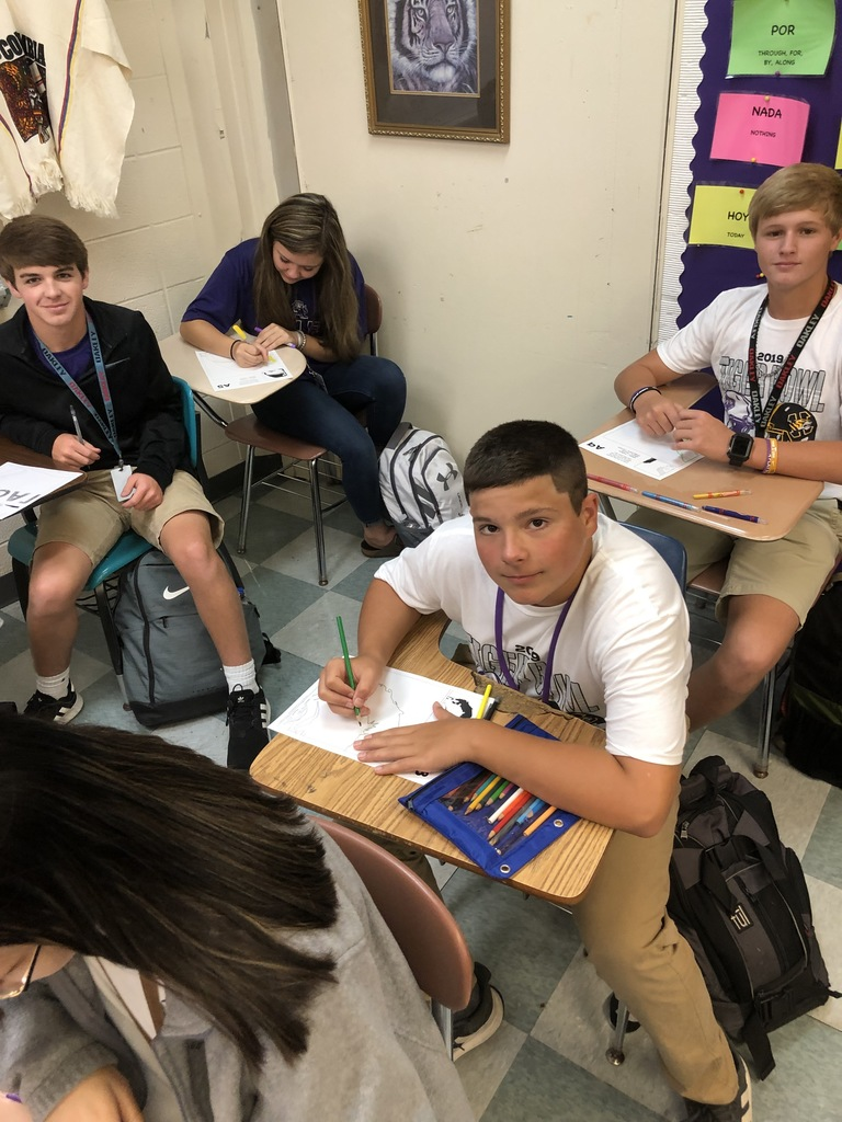 "Spanish 1 students getting ready for the ""HISPANIC HERITAGE MONTH"" by making a collaboration poster of Famous Hispanics."