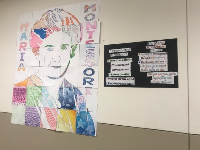 In Ms. Reed's Intro to Teaching as a Profession class, the students collaborated on their first bulletin board highlighting a Pioneer of Education, Maria Montessori.