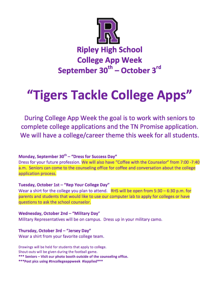 Next week is College App Week at Ripley High School!