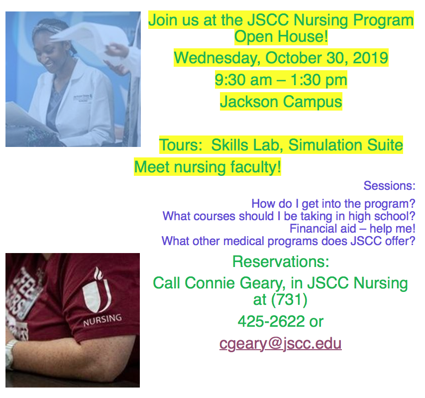 Interested in JSCC Nursing Program? They are hosting an open house October 30th.
