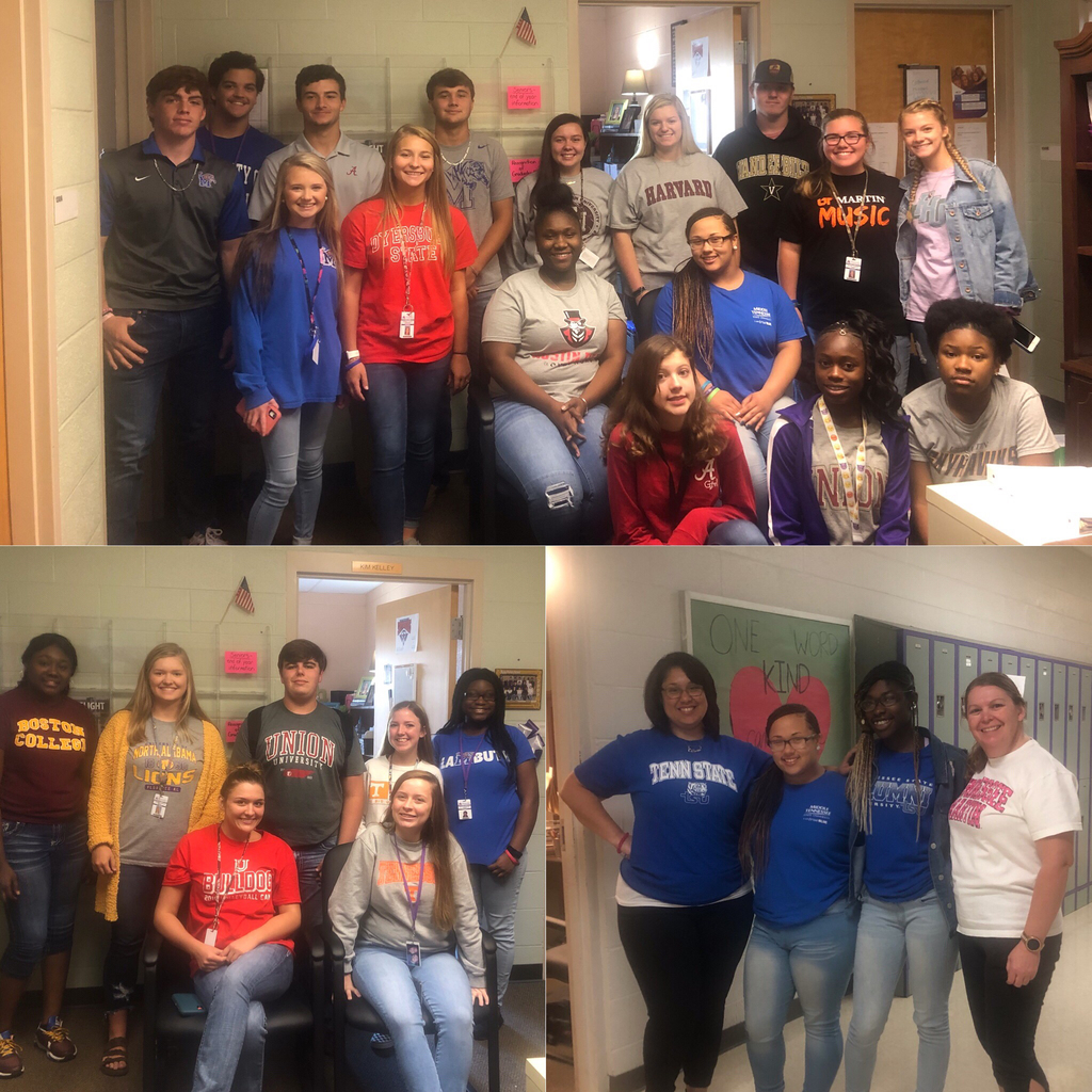 "College App Week- ""Rep Your College Day"".  Students wore shirts for the College they wanted to attend."