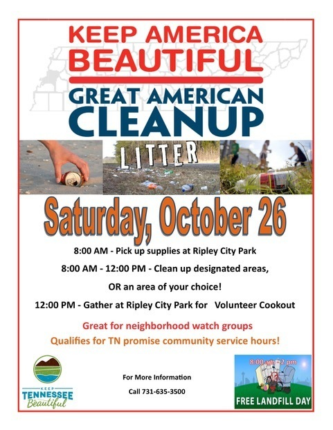 Great American Cleanup is a great opportunity for community service hours for high school students! It will be held October 26th. Supplies can be picked up at 8 am at the Ripley City Park.