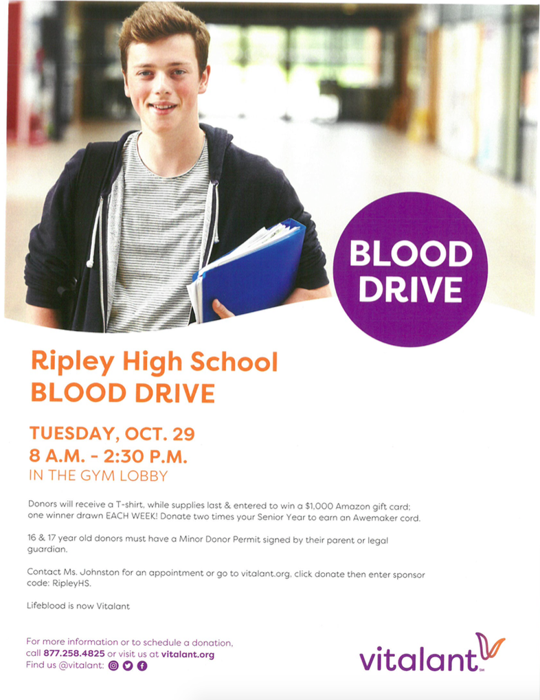 RHS Annual Blood Drive will be held October 29th