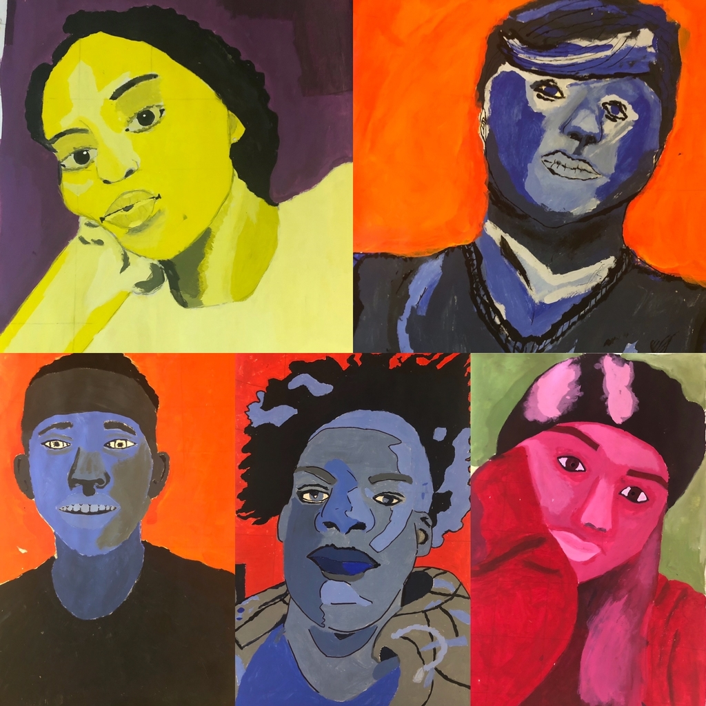 Students dichromatic self portraits