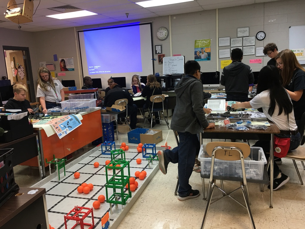 RMS VEX Robotics teams at work